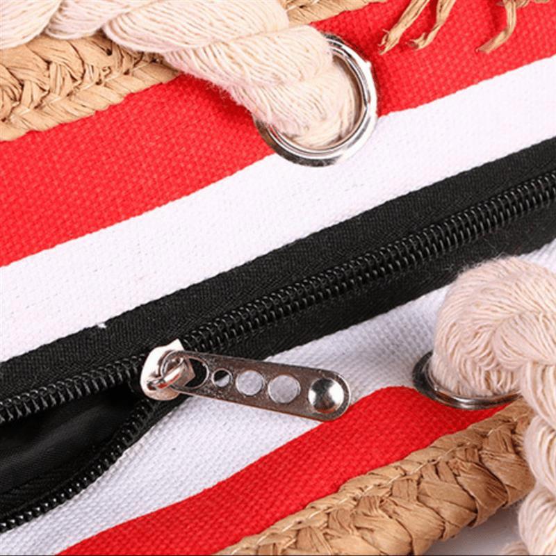 Grand sac de plage XXL en toile rayé detail couture