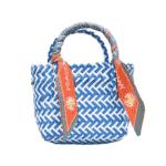 Sac de plage en paille coloré bleu