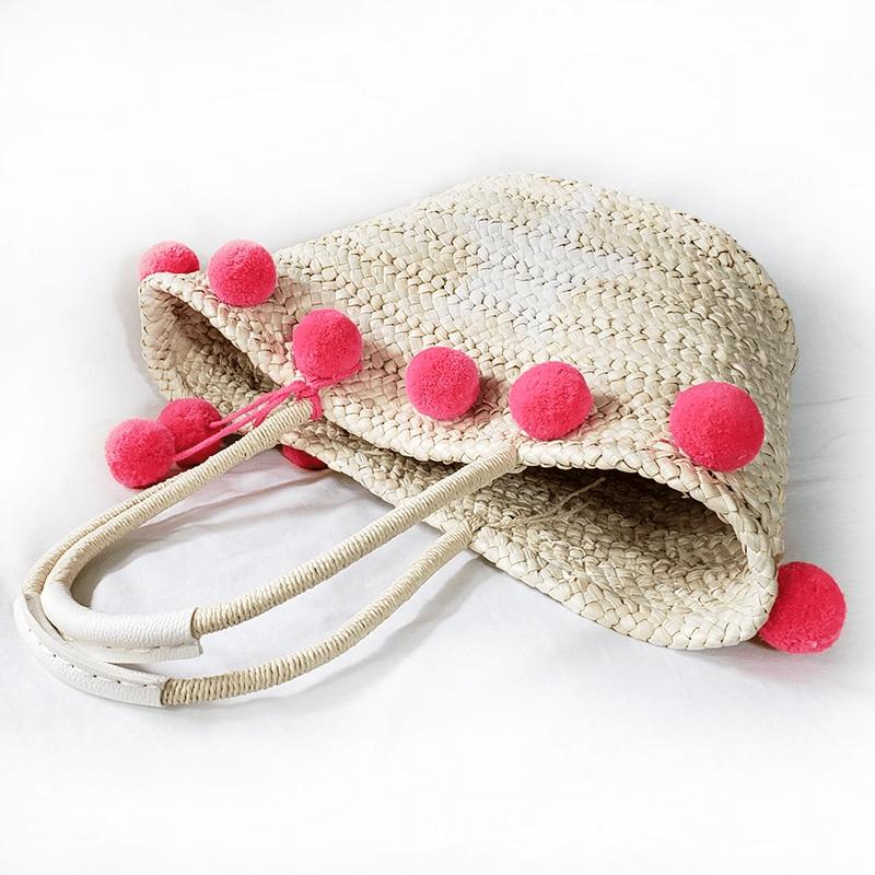 Panier de plage à pompon rouge 2