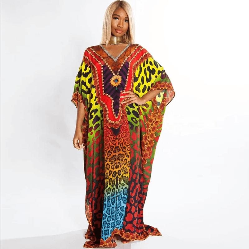 Robe paréo africain avec imprimé coloré
