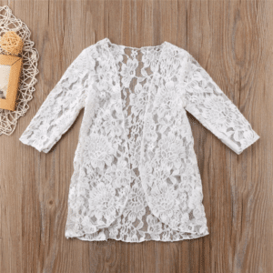 Robe pareo pour enfant en dentelle blanc 2