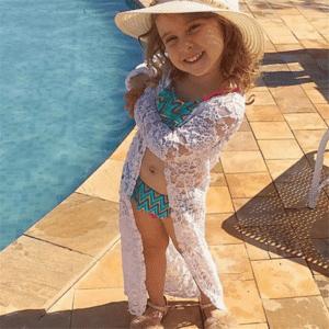 Robe pareo pour enfant en dentelle blanc 1