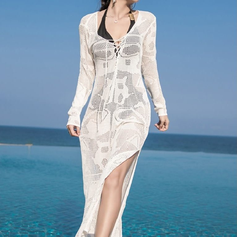 Robe paréo longue en tricot blanc