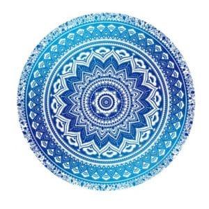 Serviette de plage ronde produit 1 bohème bleu