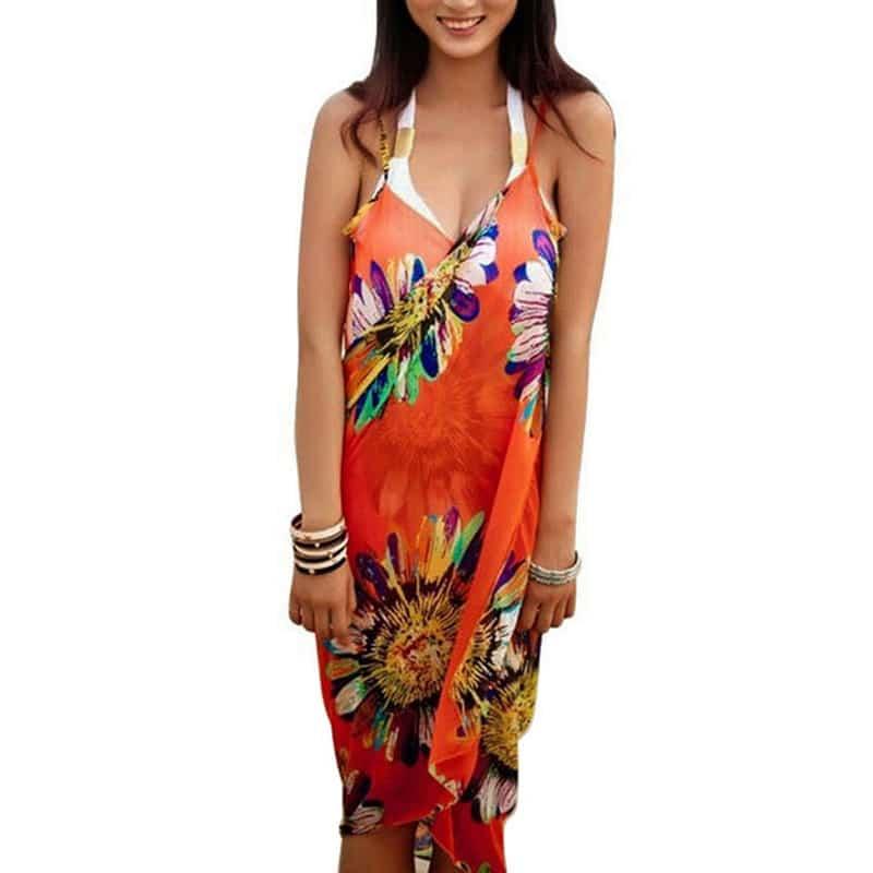 Robe pareo fleurie pour femme orange