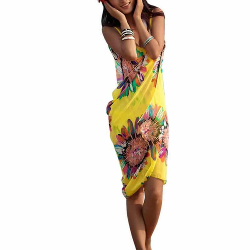 Robe pareo fleurie pour femme jaune