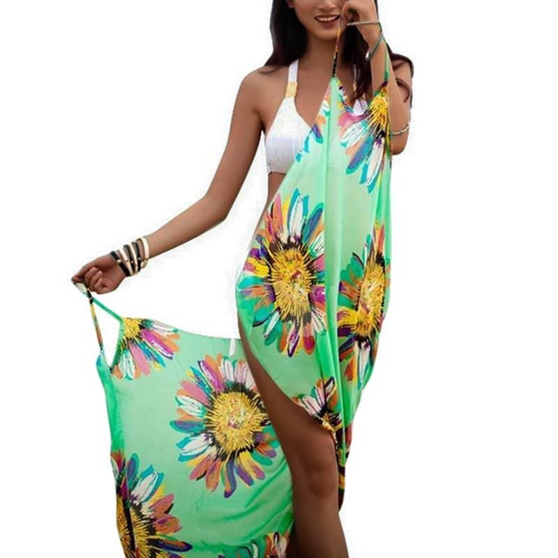 Robe pareo fleurie pour femme vert