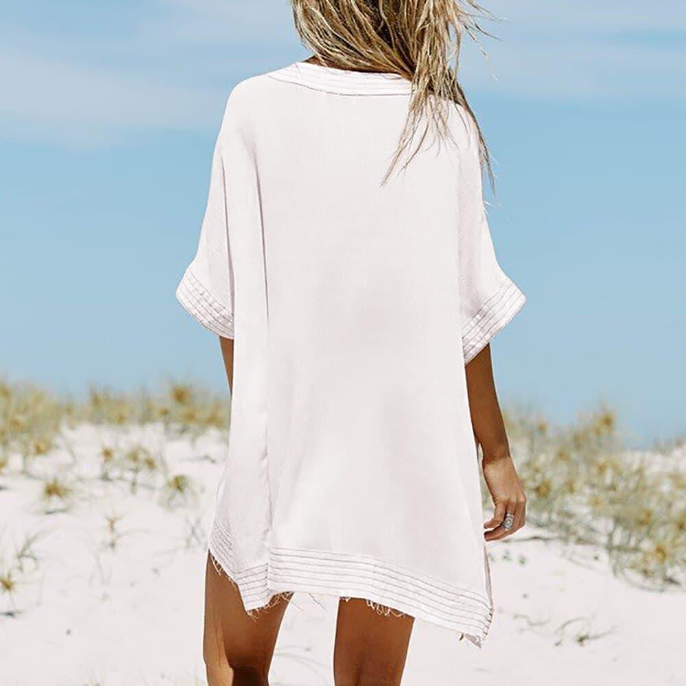 Robe paréo de plage à lacet col en V dos