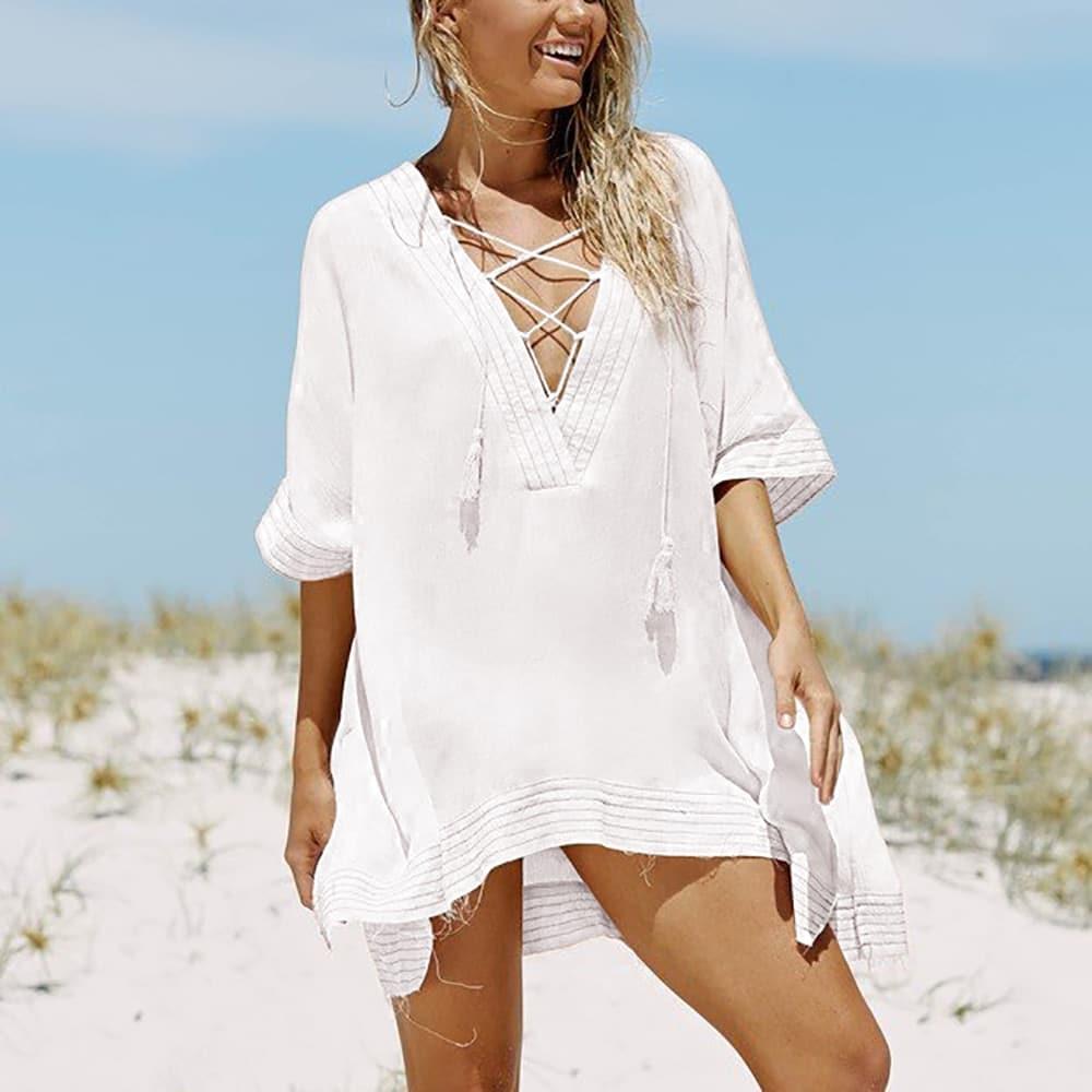 Robe paréo de plage à lacet col en V