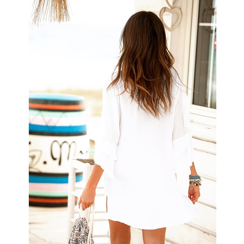 Paréo style tunique blanche brodée