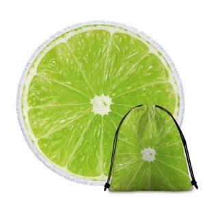 Serviette de plage ronde fruits citron vert sac