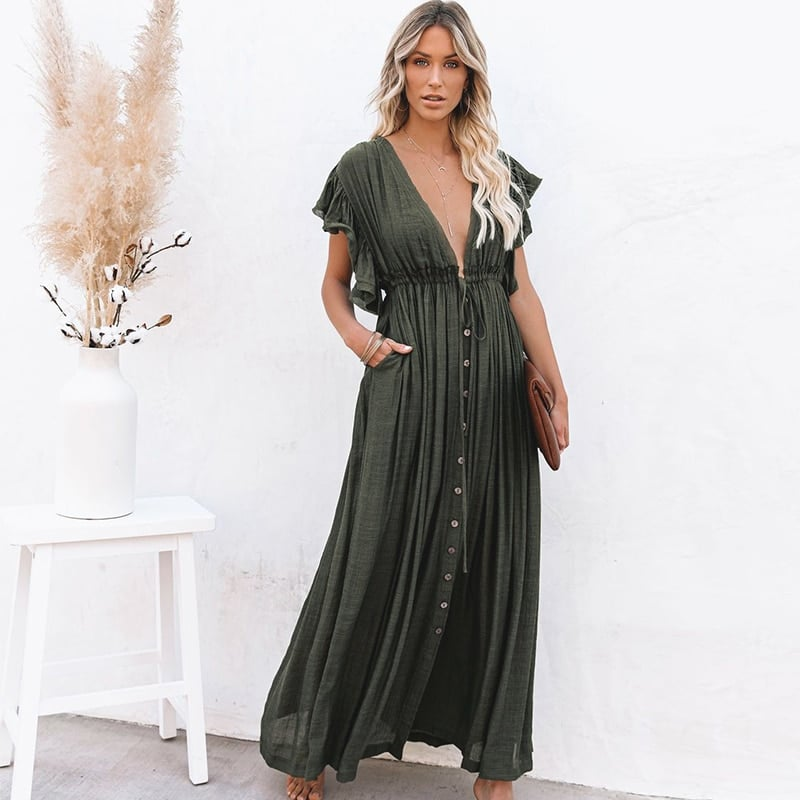Robe de plage style oversize vert foncé