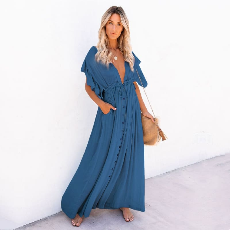 Robe de plage style oversize bleu