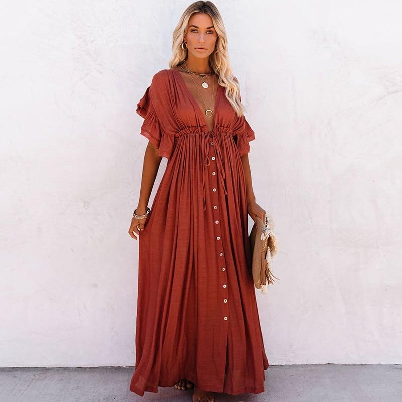 Robe de plage style oversize Rouge