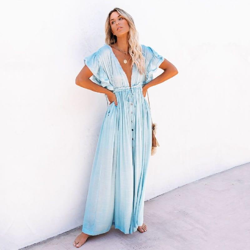 Robe de plage style oversize Bleu ciel