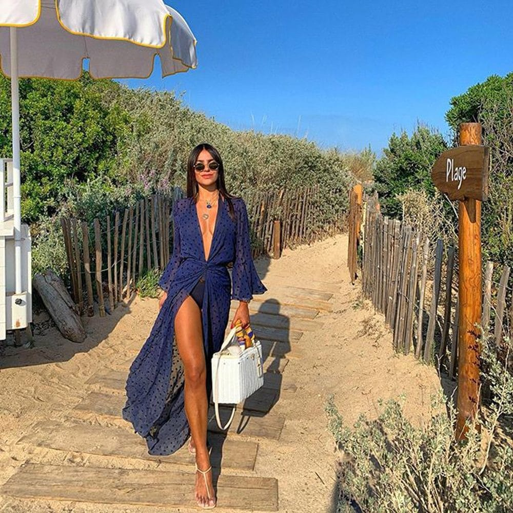 Paréo de plage style kimono bleu