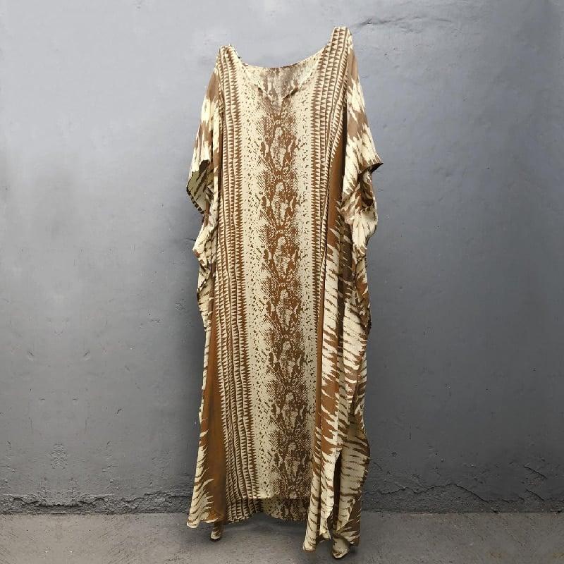Robe paréo imprimé ethnique jaune détail