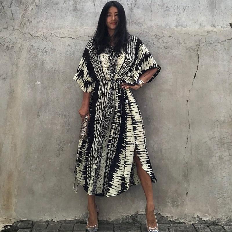 Robe paréo imprimé ethnique noir