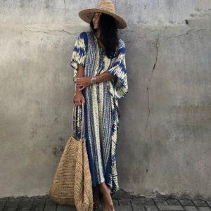Robe paréo imprimé ethnique bleu