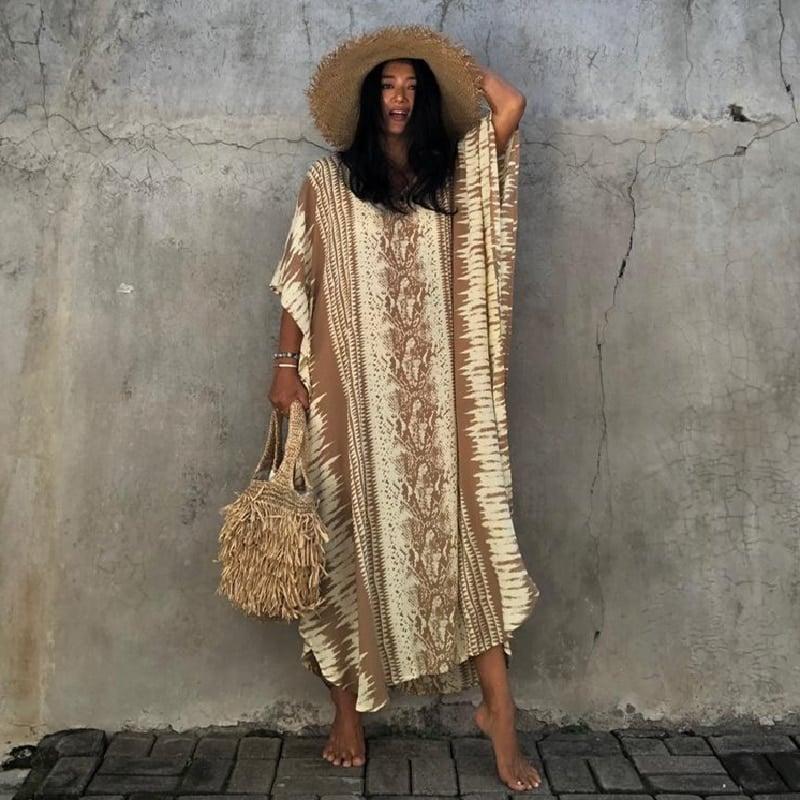 Robe paréo imprimé ethnique jaune