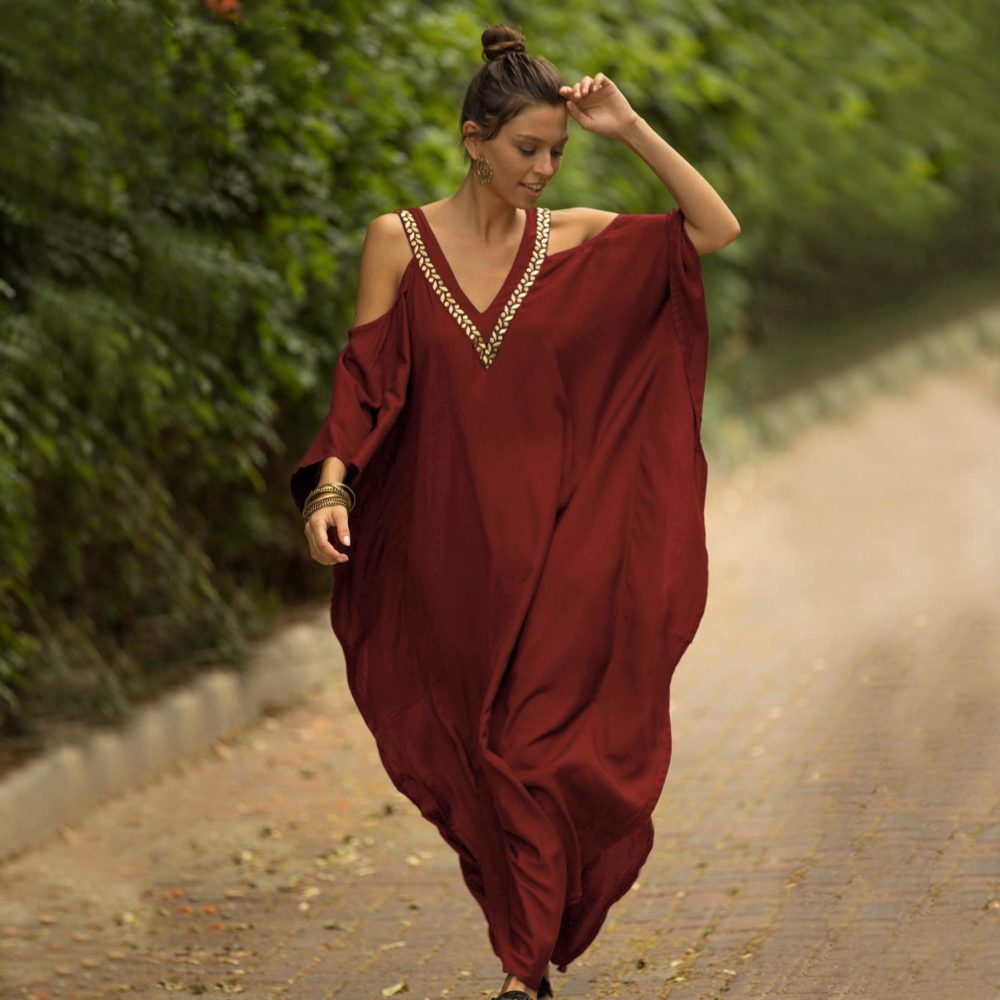 Robe paréo aux inspirations africaines rouge