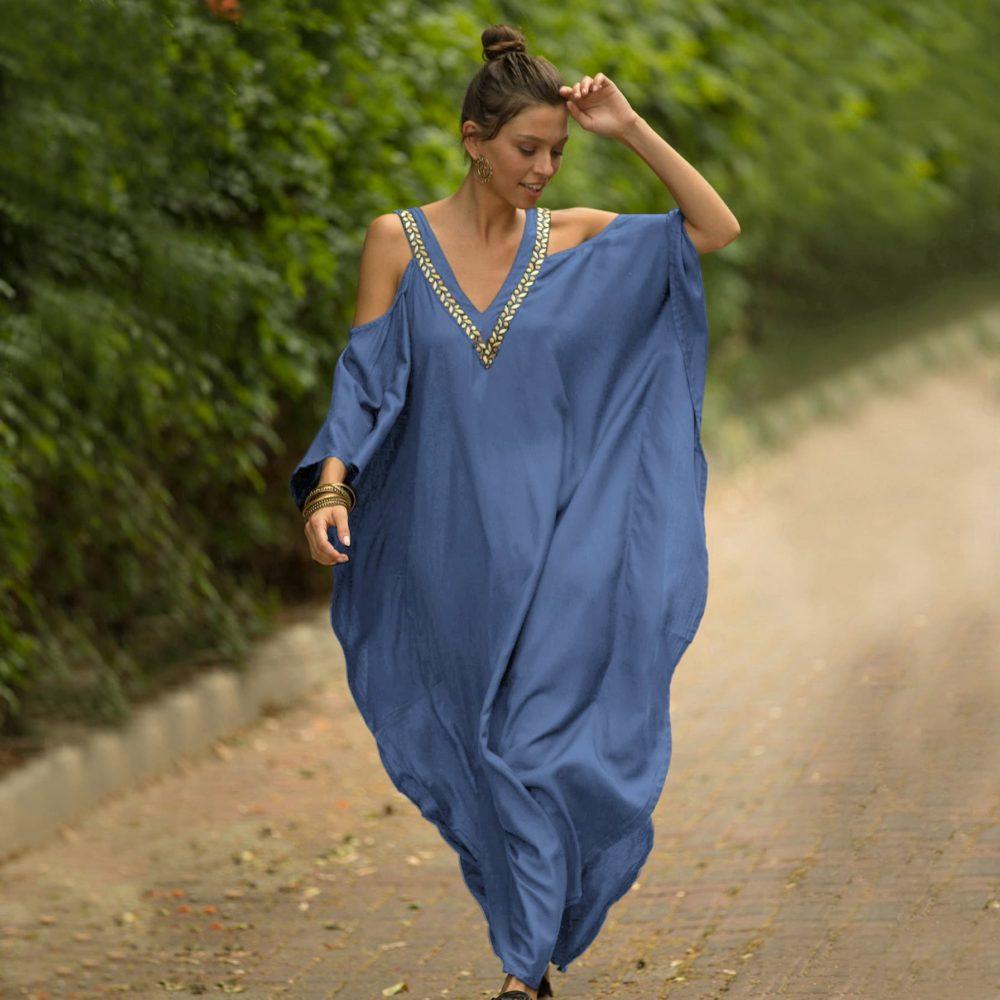 Robe paréo aux inspirations africaines bleu ciel