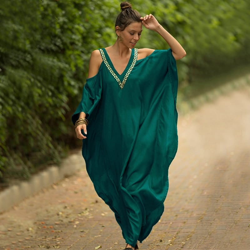Robe paréo aux inspirations africaines vert