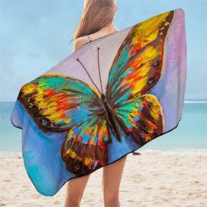 Serviette de plage en microfibre papillon aquarelle