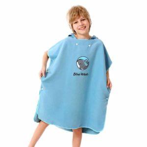 Serviette de plage pour enfant en microfibre unie bleu
