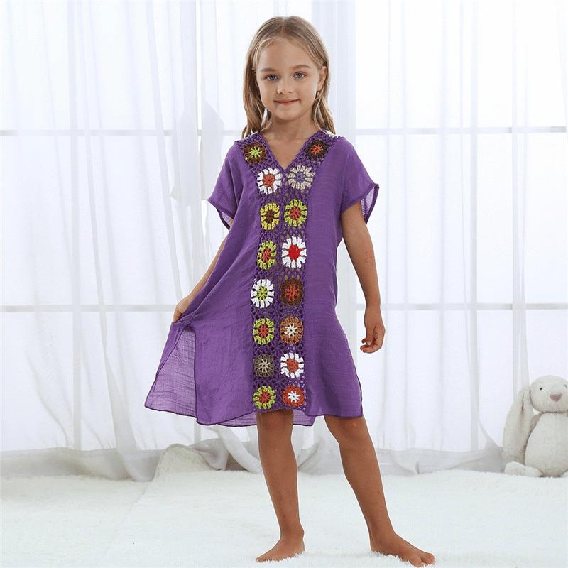 Robe pareo ethnique pour enfant violet