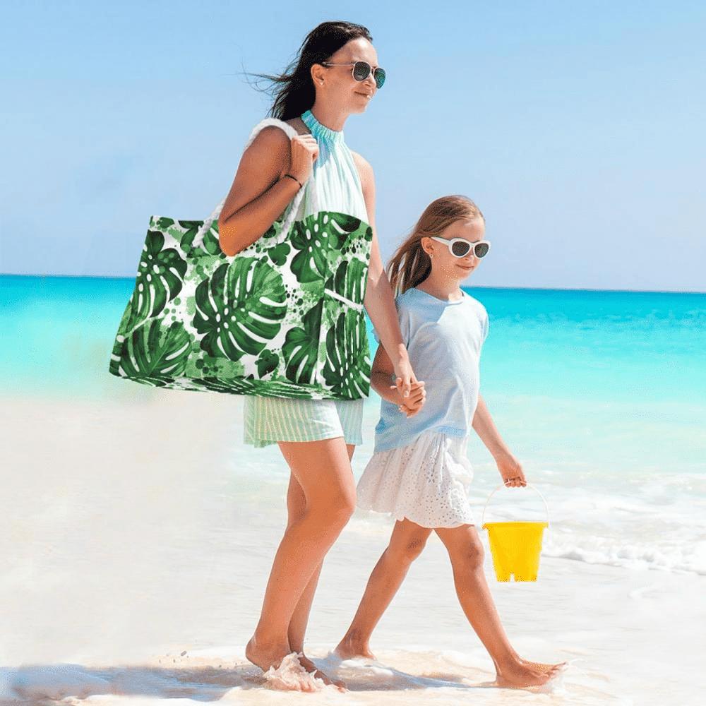 Grand sac de plage fourre-tout tropical
