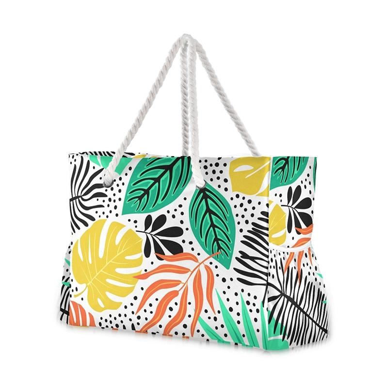 Grand sac de plage fourre-tout tropical dessin