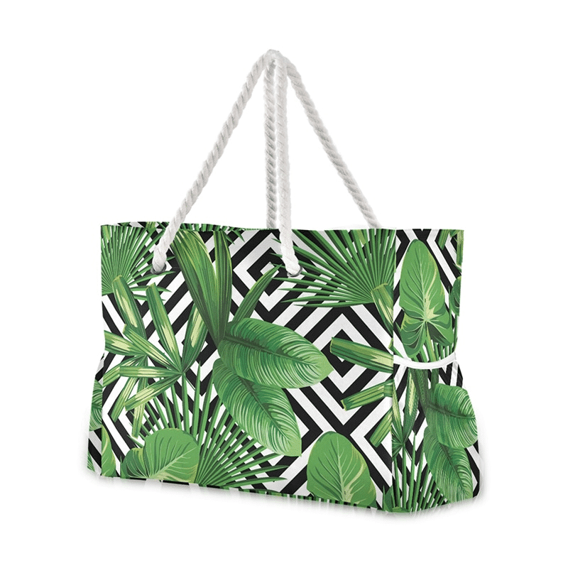 Grand sac de plage fourre-tout tropical graphique