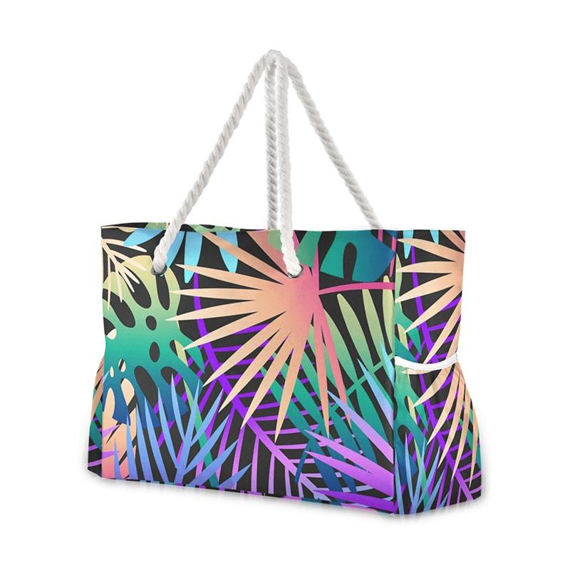 Grand sac de plage fourre-tout tropical multicolore