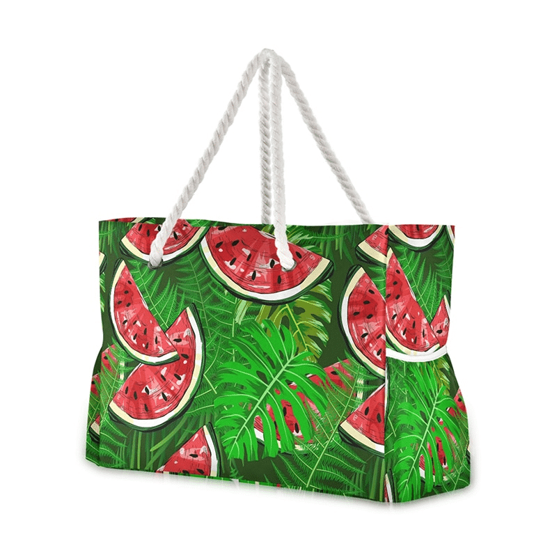 Grand sac de plage fourre-tout tropical pasteque