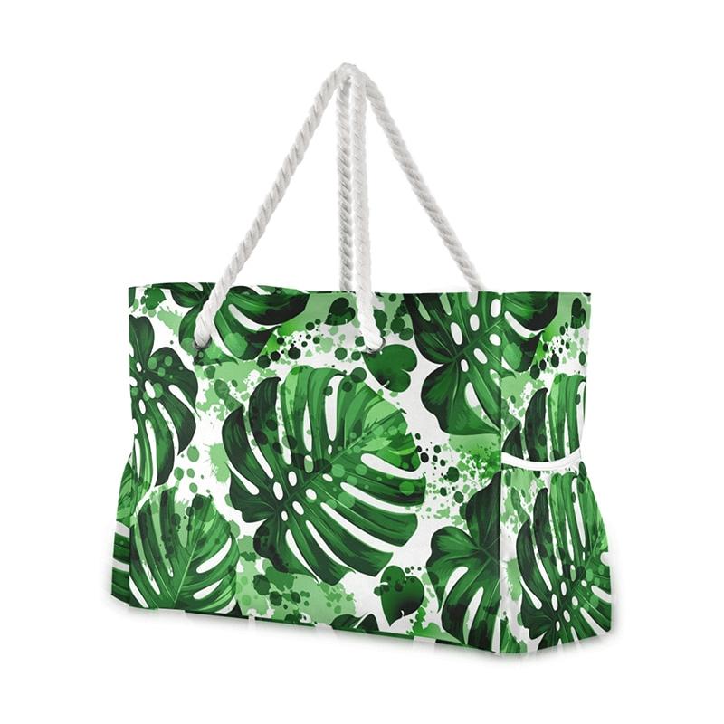Grand sac de plage fourre-tout tropical jungle
