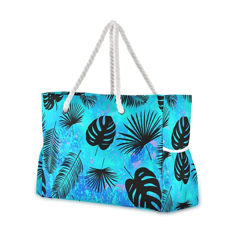 Grand sac de plage fourre-tout tropical bleu