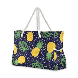 Grand sac de plage fourre-tout tropical ananas jungle