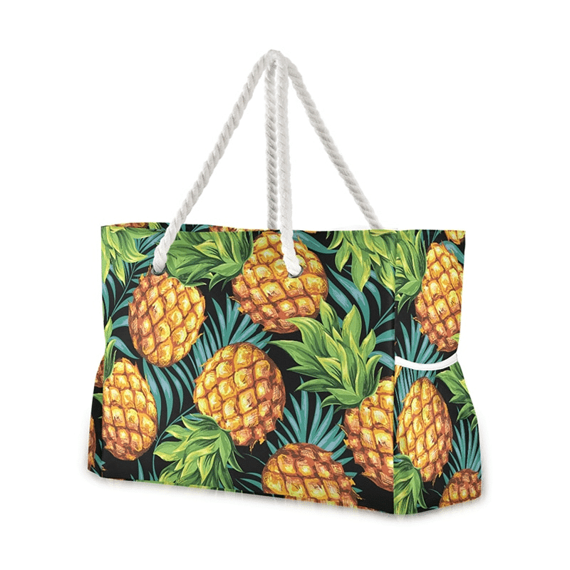 Grand sac de plage fourre-tout tropical ananas