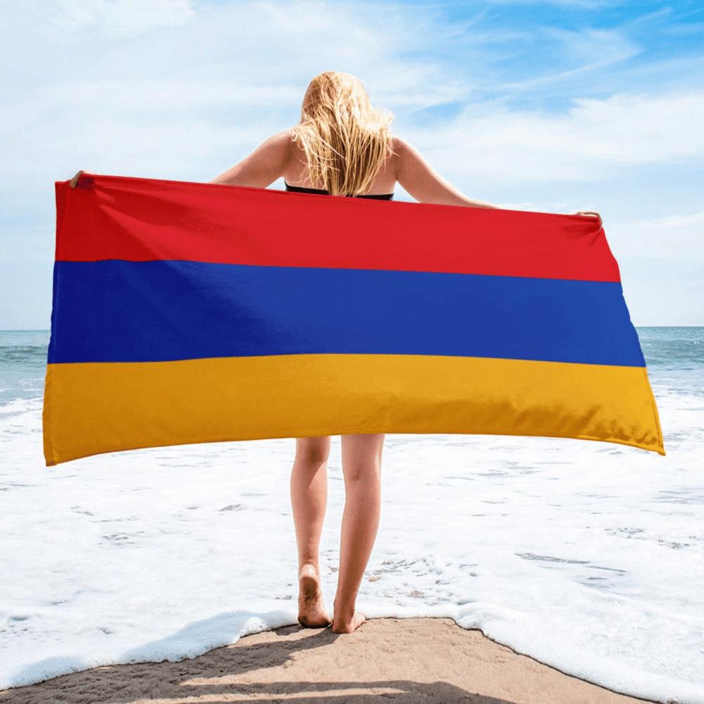 Serviette de plage en microfibre drapeaux Arménie