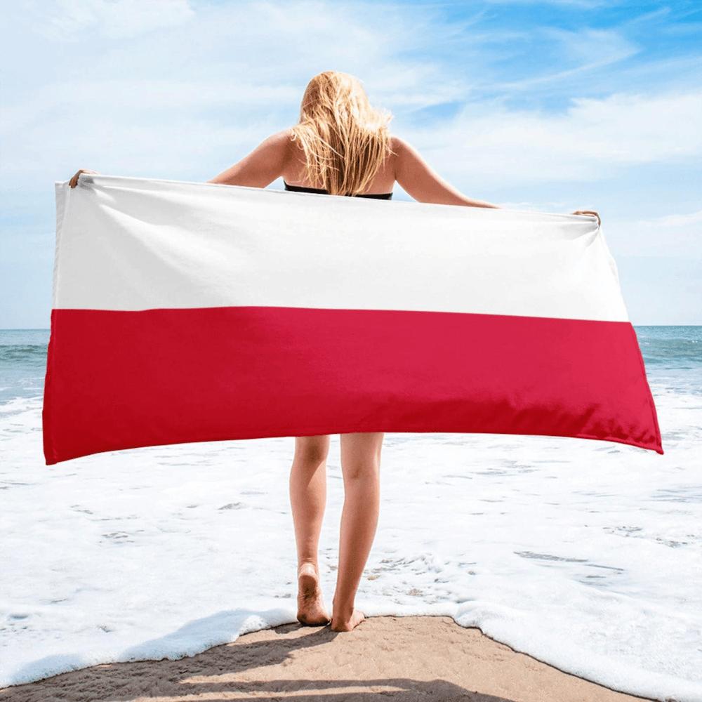 Serviette de plage en microfibre drapeaux Pologne