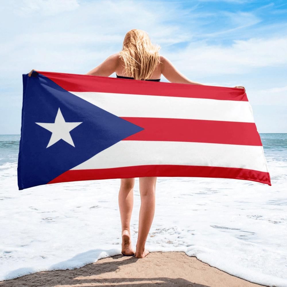 Serviette de plage en microfibre drapeaux Porto Rico