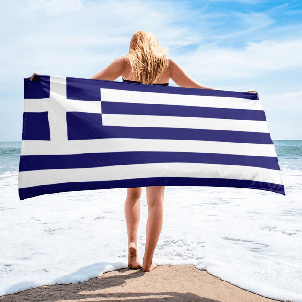 Serviette de plage en microfibre drapeaux Grèce