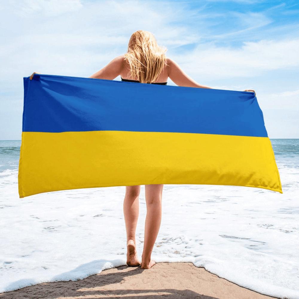 Serviette de plage en microfibre drapeaux Ukraine