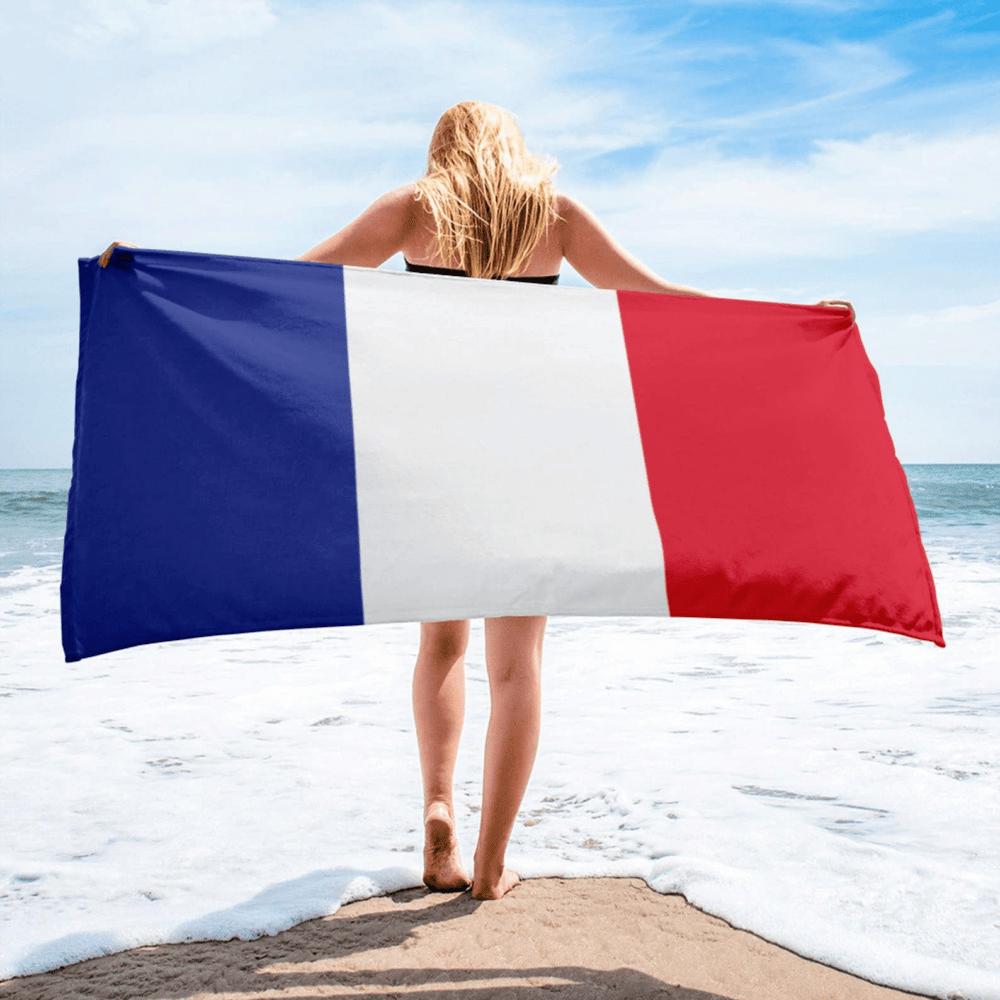 Serviette de plage en microfibre drapeaux France