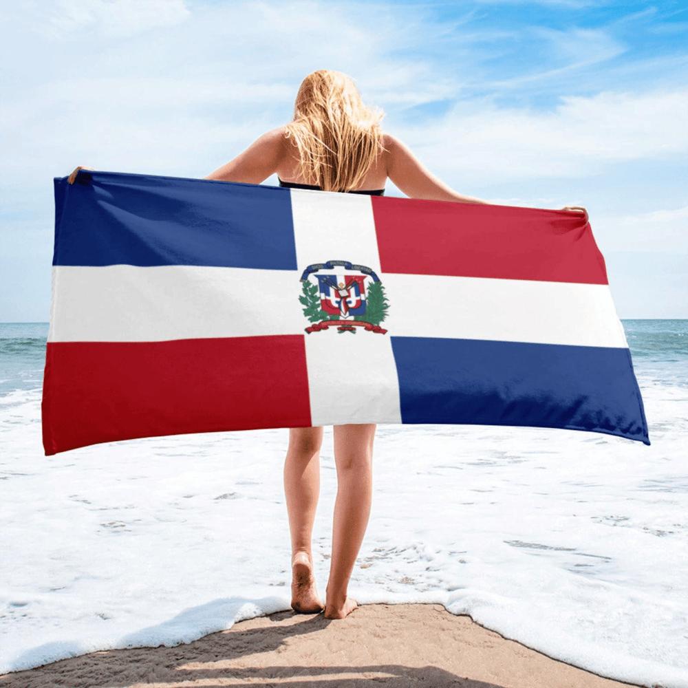 Serviette de plage en microfibre drapeaux République Dominicaine