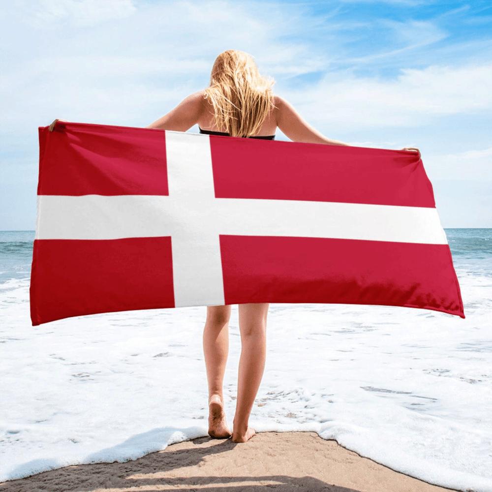 Serviette de plage en microfibre drapeaux Danemark