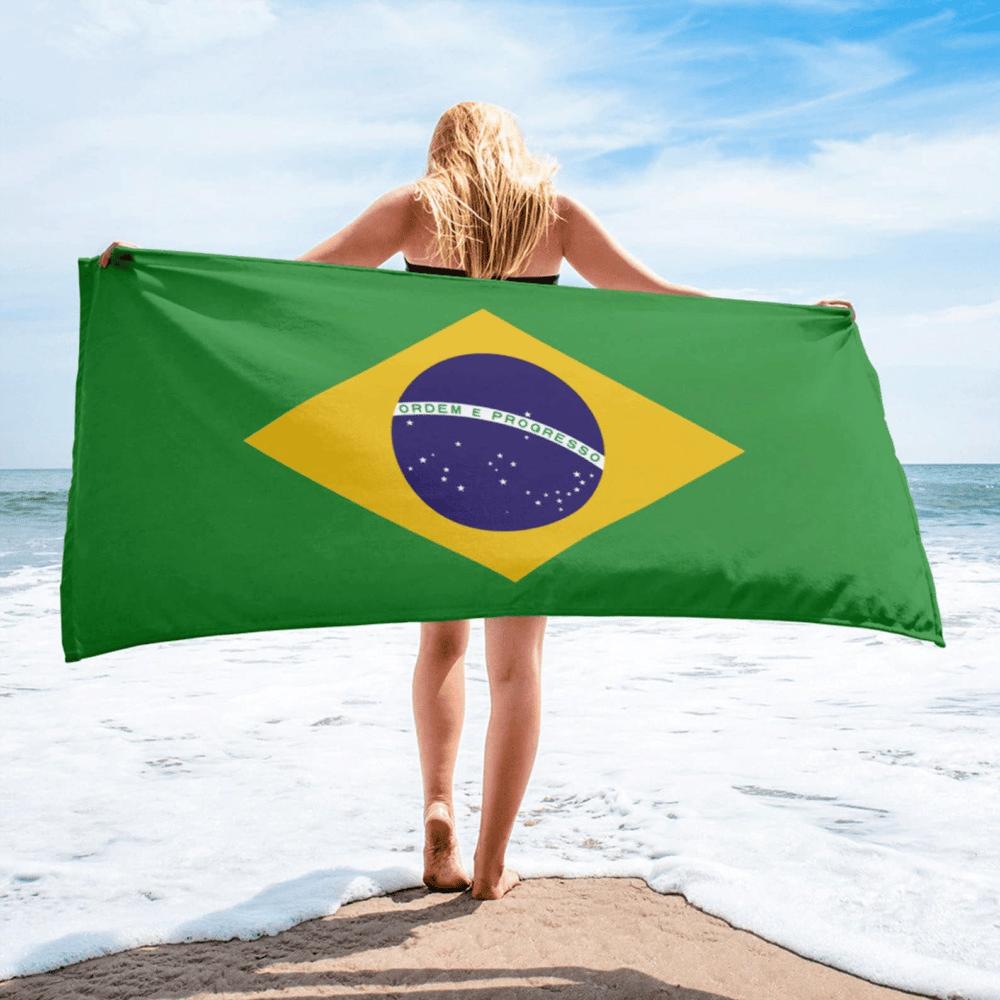 Serviette de plage en microfibre drapeaux Brésil