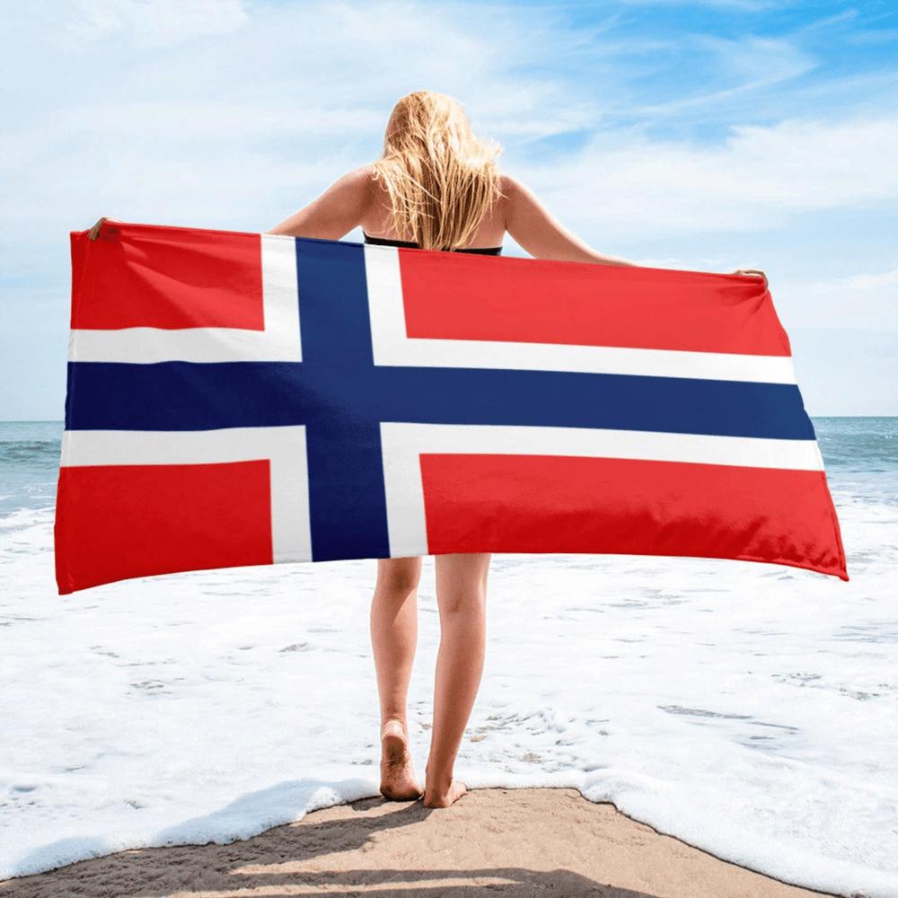 Serviette de plage en microfibre drapeaux Norvège