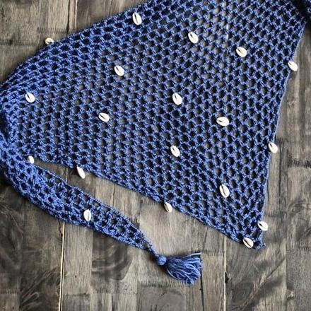 Mini paréo en maille pour femme bleu